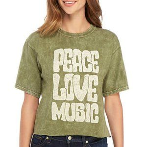 Tops - Cropped Graphic Tee Peace Love Music NWT